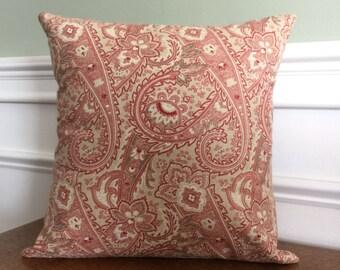 Throw Pillow Cover - Pillow Sham - Decorative Pillow - Designer Cotton Fabric - Red Gray Paisley- 14 16 inch - Sofa Pillow