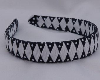 Navy Dots Woven School Headband
