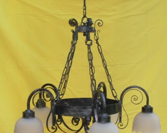 chandelier vintage electric, chandelier wrought iron 5 bulbs, chandelier for ceilings, chandelier rustic by castle, lamp produced in Italy