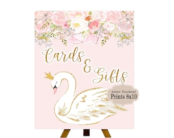 PRINTABLE Swan, Dove, Cards & Gifts Sign, Swan Theme, 1st Birthday