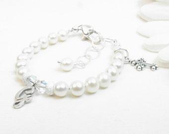 Personalized Bracelet for Girl Baptism Christening Confirmation or First Communion Gift, Newborn Infant Baby Bracelet, Child Cross Bracelet