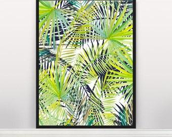 Leaf print, Palm leaf print, Nature print, Botanical print, Palm leaf, Affiche Scandinave, Scandinavian Poster, Tropical leaf, Wall Art