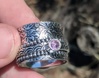 Meditation Ring - Rose Quartz 925 Spinner