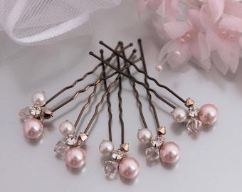 Rose Gold Hair Pins, Blush Pink & Ivory Hair Pins, Pearl Wedding Hair Pins,  Pearl Cluster Hair Pins, Pale Pink Hair Pins, Bridal Hair Pins