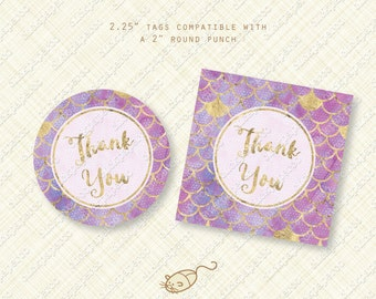 Gold and Purple Mermaid Thank You Tags printable favor tag fish scales instant download digital pdf pool party birthday baby shower sea life