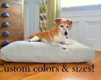 Canvas heavy duty dog bed cover, solid color dog bed pillow cover, custom pet bed cover, pillowcase with zipper, washable