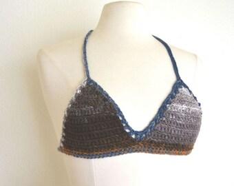 Triangle Bikini Top Tie Dye Crochet Bikini Bra Top Blue Purple Small A / B Cup