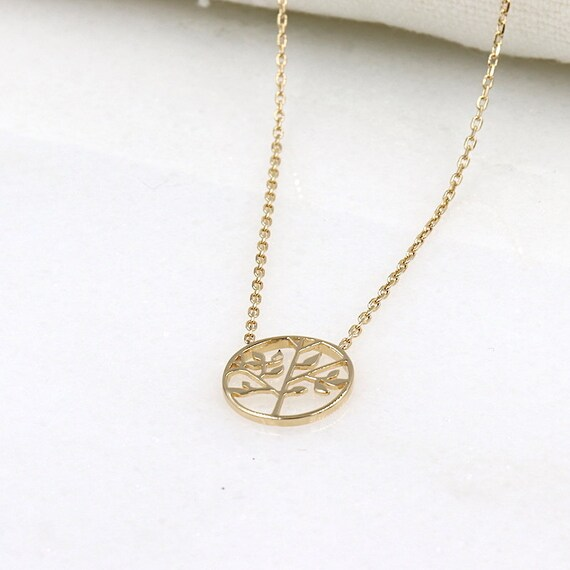 plated tree of life necklace gold for women