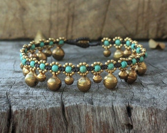Elfin Turquoise Brass Bell Anklet