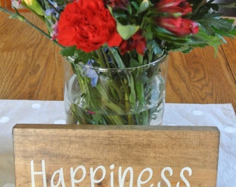 "Hand painted wooden sign, ""happiness"""