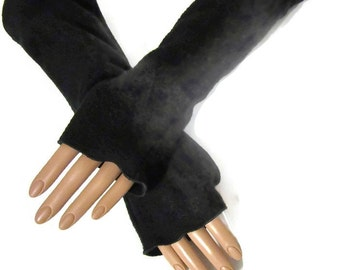 Arm Warmers, Fingerless Gloves Black Fleece Wrist Hand Warmers, Gift For Her, Handmade Harry Potter, Halloween Christmas Gift Women Hanukkah