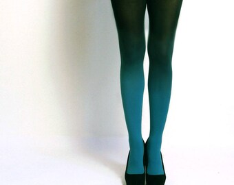Ombre Tights gredient tights Hand dyed Teal and black