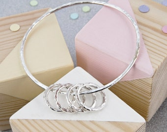 40th Birthday Gift For Her, 40th Birthday Gift Ideas, 40th Birthday Gift For Mom - Sterling Silver 40th Birthday Bangle with 4 Mini Rings