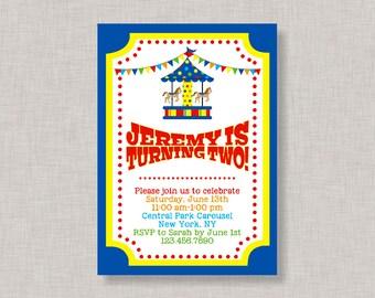 Boy Carousel Invitation,Boy Carousel Party,Carousel Invitation,Carousel Birthday Invitation,Carousel Party,Circus Birthday Invitation