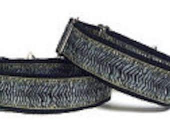 "1.5"" Martingale Dog Collar, Silver Grey and black ZEBRA Print, Safety Collar, Greyhound Collar, Sighthound Collar, Adjustable"