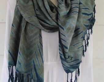 Hand-dyed, indigo over MX dye, handwoven rayon scarf with fringe, pleated arashi shibori, 26 x 76 inches