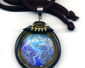 Polymer clay pendant - necklace