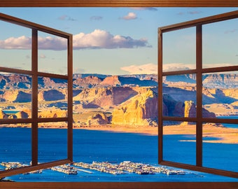 Wall mural window, self adhesive -open window view-3 sizes available-Lake Powell-Nevada-office decor