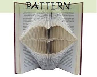 Book folding Pattern: LIPS design (including instructions) – DIY gift – Papercraft Tutorial