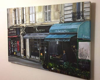 Original French Oil Painting of Paris Boutiques - 36x24in