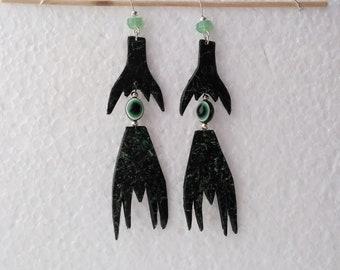 FREE SHIPPING. Green Devil Eye Earrings, Devil Eye, Earrings, Handmade, Jewelry, Handmade Jewelry, Devil, Eye,