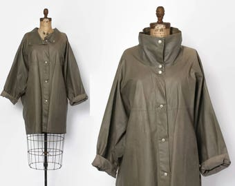 Vintage 80s Minimalist Jacket / 1980s Khaki Stone Coated Canvas Avant Garde Raincoat