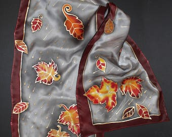 71-17 in hand painted fall leaves scarf,Long silk satin scarf,Gold leaves, Fall gift for her, Autumn thanksgiving holiday gift