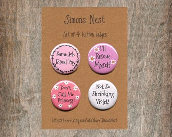 "Feminist Badge Set  - Pack Of 4 Pink And Purple Equality Statement 1"" Button Pin Badges - Equal Pay Equal Rights Feminist Womans Girls Gift"