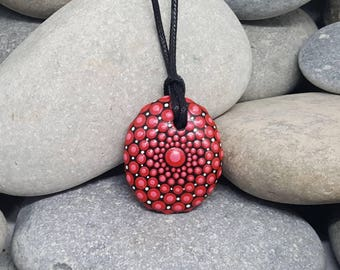 Red Painted Necklace - Paint Stone - Mandala Rock - Dot Art - Paint Rock - Unique Necklace - Mandala Art - Mandalas - Chakra - Pendant
