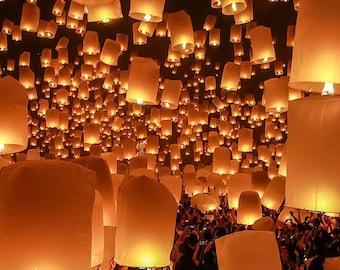 HOT! BUY 2 Get 1 FREE Colorful Big Thai Floating Lantern, Sky Lantern, Flying Balloon, Wish Lantern, Tangled, Romantic Moment, Wedding, Bday