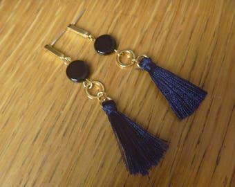 tassel and black earrings