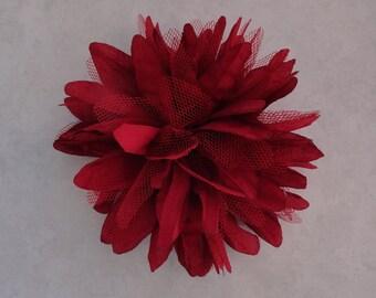 Burgandy maroon Flower Hair Clip Baby Toddler Child