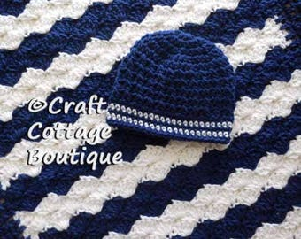Baby Boy Shower Gift Set -Crochet Baby Blanket & Hat -Travel / Stroller / Car Seat / Crib - Navy Blue and White - Nursery - Knit