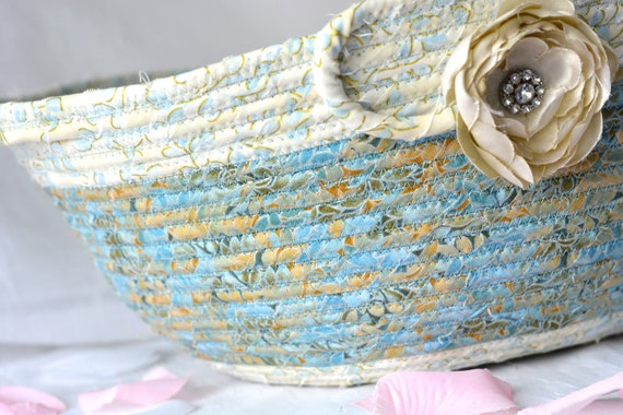Elegant Artisan Basket, Handmade Designer Bowl, Gold and Blue Gift Basket, Artisan Bowl, Coiled Fabric Basket, handles, Bathroom Decoration