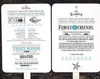 Beach Wedding Fan, Custom Wedding Fan, Destination Wedding, Beach Wedding, Order of Service Fan, Wedding Program Fans, Wedding Program