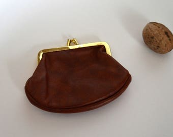 Vintage Leather Coin Purse Money Clip Woman Small Wallet brown leather wallet leather pouch fanny pack