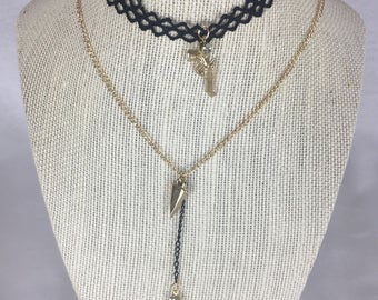 Supernatural Charm Colt Necklace Inspired Sam and Dean Choker Lace Handmade Cross Winchester Jewlery SPN