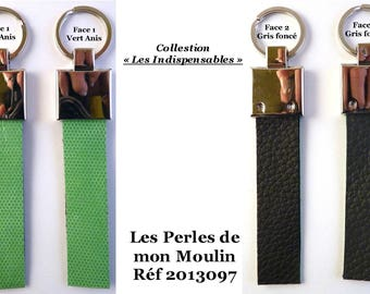 """Mens leather key holder """"Essential"""" gray and green / 2013097"""