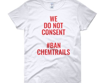 Women's one-sided short sleeve t-shirt #BAN CHEMTRAILS