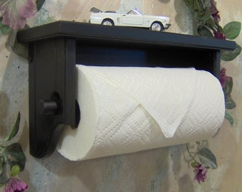 Paper towel holder shelf wall solid wood black