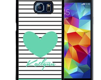 Personalize Rubber Case For Samsung Note 3, Note 4, Note 5, or Note 8- Stripes Teal Heart