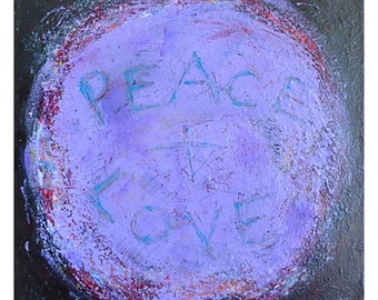 Peace and Love, small original painting, purple art, wall art unframed, ready to hang art, abstract, unique gift, free shipping