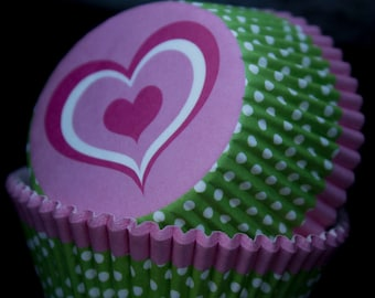 Pink Heart Cupcake Papers