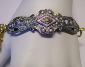 Shabby & Chic Pink Green and White Art Deco Style Brass Cuff Bracelet.  Faux Pearls