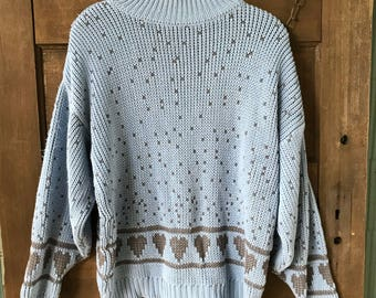Vintage 80's Women's Blue with Grey Hearts Pullover Sweater by Paris Sport Club size large