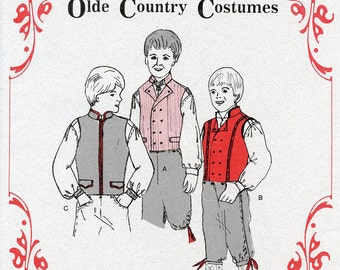 Boys Nordic Style Vest 3 Views sizes 4-14 Olde Country Costumes Sewing Pattern  # 901 Scandinavian Norwegian Swedish