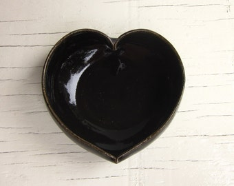black pottery valentine's day heart dish - 3 1/2 inches