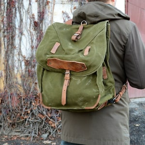 Large Military Backpack, Vintage Army Rucksack, Old Army Backpack, Canvas Backpack with Leather Straps, Big Military Green Rucksack