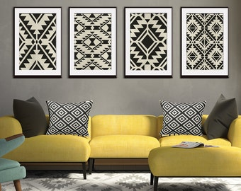 Navajo Indian inspired Geometric Patterns (Series A4) Set of 4 Art Prints (Featured in Black on Pale Italian Stone) Modern Tribal Art