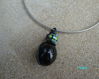 Black, turquoise necklace, Lampwork, glass Pearl wedding